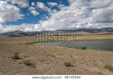 Lake Steppe Sky Clouds Mountains
