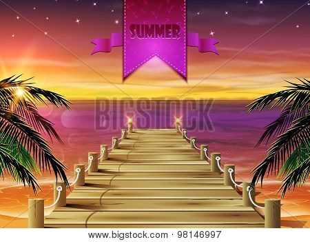 Summer background. Evening beach with a pier.