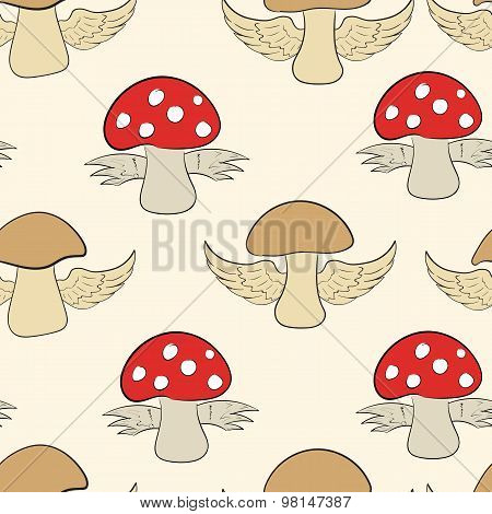 Seamless mushrooms and fly agarics