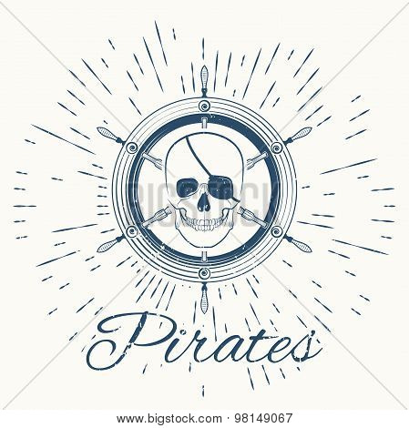 skull pirate and vintage sun burst frame
