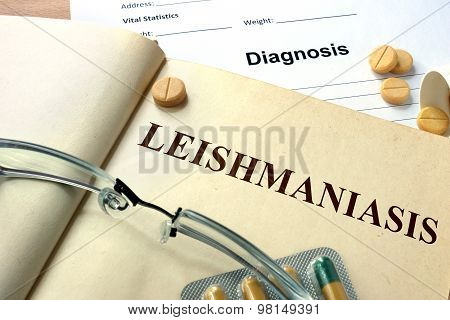 Word   Leishmaniasis. Medical concept.
