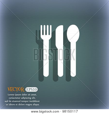 Fork, Knife, Spoon Icon Symbol On The Blue-green Abstract Background With Shadow And Space For Your