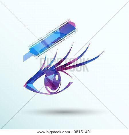 Vector illustration beautiful female blue eye mascara