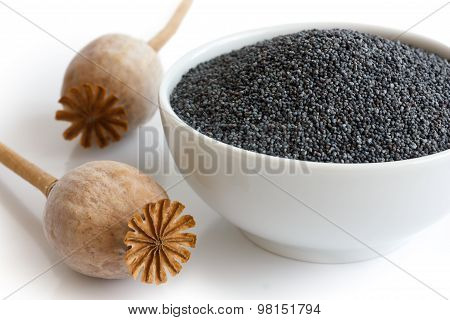 Ceramic Bowl Of Poppy Seeds With Two Dried Pods In Perspective.