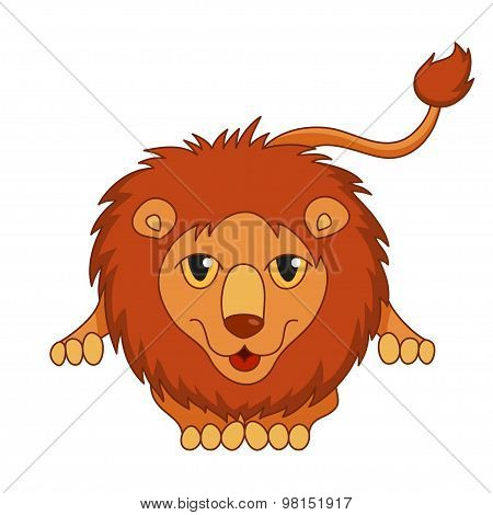 Cute cartoon smiling lion lying with fluffy mane and kind muzzle