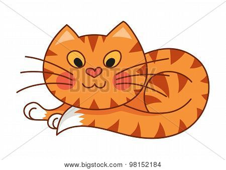 Cartoon plump kitty, vector illustration of red striped cat