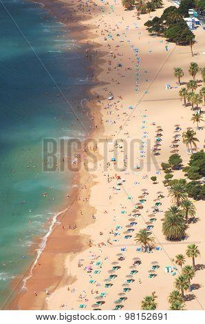 picturesque gorgeous view on Teresitas beach on Tenerife island, Spain