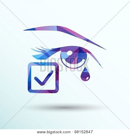 Eye with tears vector illustration isolated sign symbol icon