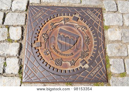 Exterior of the decorated sewer manhole in Frogn, Norway.