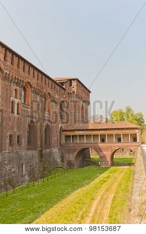 Tower And Covered Bridge Of Sforza Castle (xv C.) In Milan