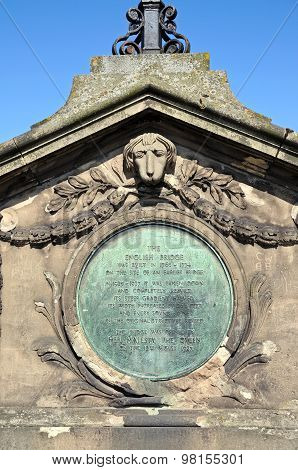 Plaque on the English Bridge, Shrewsbury.