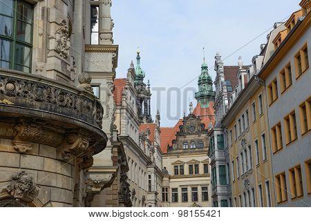 Skyline Of Buildings On Schloss Street End, Dresden, Saxony, Germany.