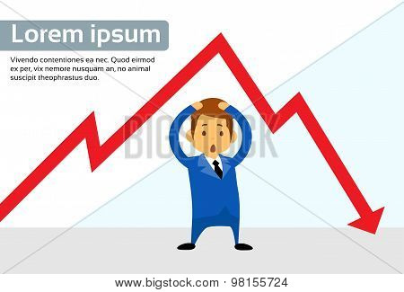 Businessman Financial Graph Red Arrow Negative Fall Down