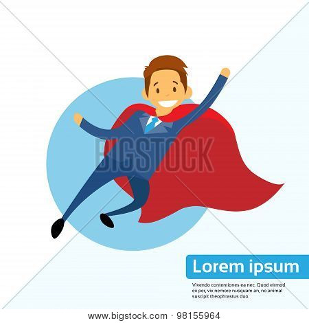 Businessman Super Hero Chartoon Fly