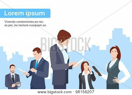 Business People Group Using Tablet Computer Internet Communication