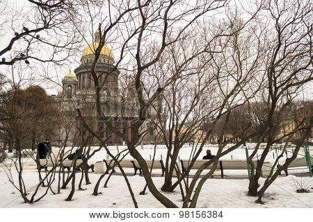 St. Isaac's Cathedral in winter in St. Petersburg