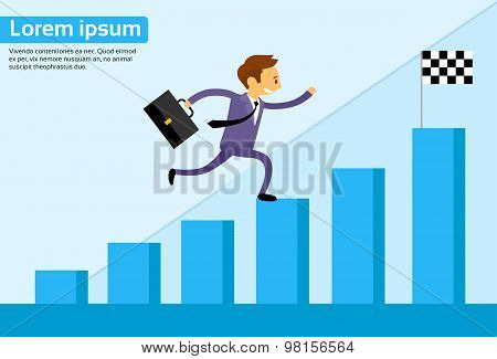 Businessman Run Financial Bar Graph Cartoon