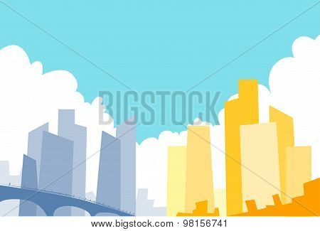 Modern City View Skyscraper Cityscape Background Colorful