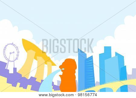 Singapore Skyline City Skyscraper Silhouette Flat Colorful