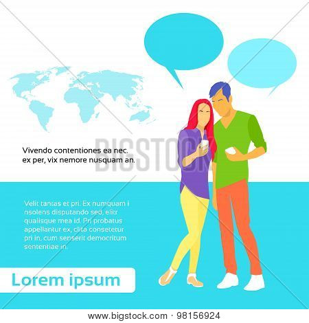 Couple Message Using Cell Smart Phone Surfing Internet Social Network Chat