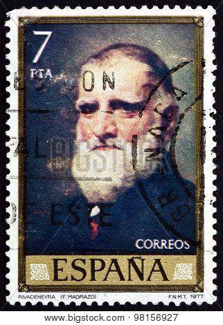 Postage Stamp Spain 1977 Rivadeneyra Portrait, By Federico Madra