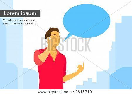 Casual Man Smart Phone Talk Chat Box Communication