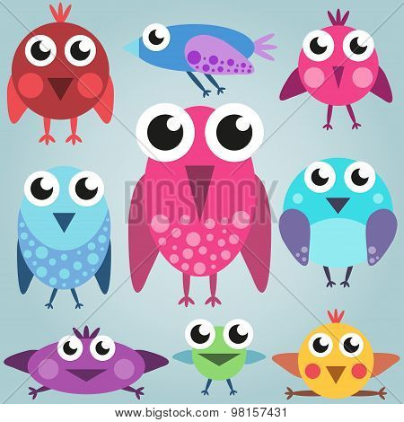 Cartoon bright bird set, funny comic birds, simple birds