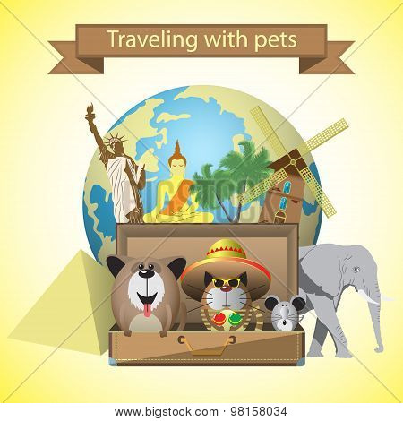 Travel pets. Vector illustration with pets,suitcase and world landmarks background