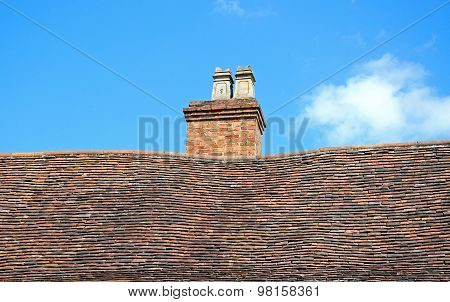 Bent tiled roof and chimney, Coventry.
