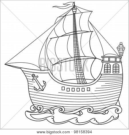 Beautiful old ship with sails.