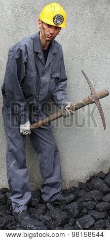 Miner Using A Pickaxe