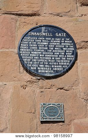 Swanswell Gate Sign, Coventry.