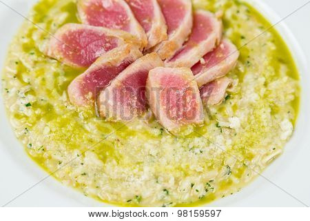 Tuna Risotto With Pieces Serving In Restaurant