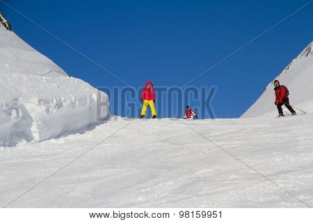 Snowboarders on the mountain slope, extreme sport