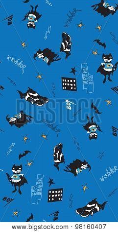 Batman fun cartoon boy seamless pattern