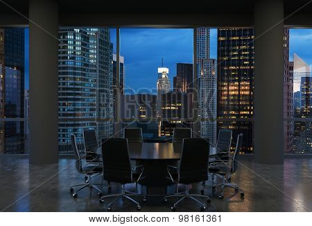 Panoramic Conference Room In Modern Office, Cityscape Of New York Skyscrapers At Night, Manhattan. B