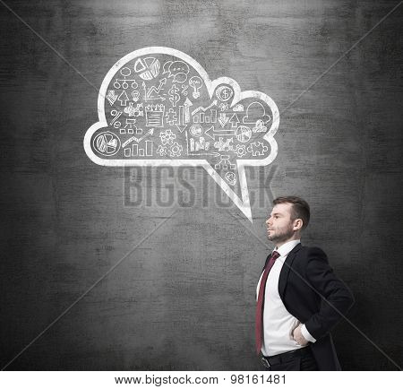 Side View Of The Confident Businessman, Student, Who Is Thinking About New Business Concepts. Drawn