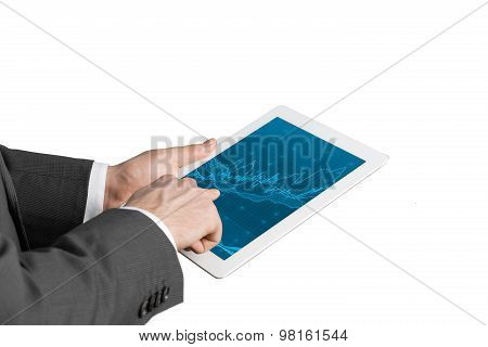 Close Up Of Hands With Tablet And Forex Screen. Isolated.