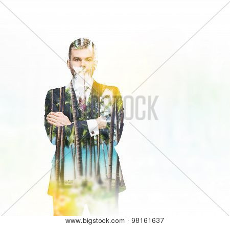 A Transparent Silhouette Of A Businessman. Tropical Island Landscape On The Background.