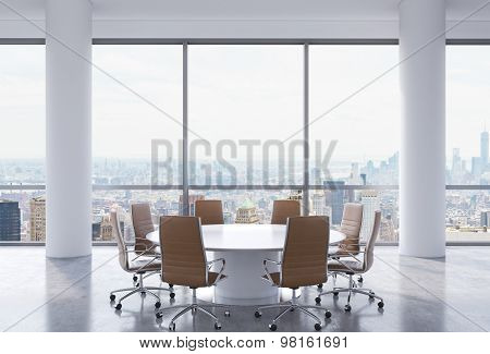 Panoramic Conference Room In Modern Office, New York City View. Brown Chairs And A White Round Table