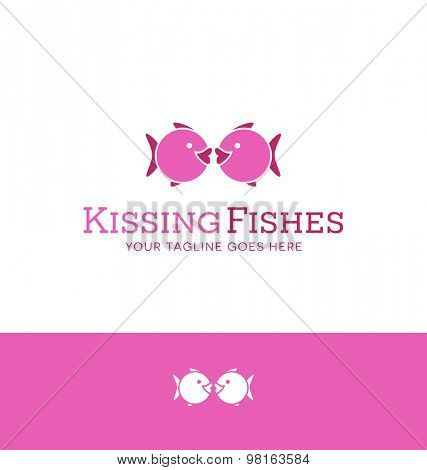 Logo design of 2 iconic fishes kissing