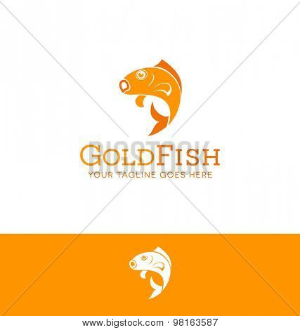 logo design of a jumping goldfish