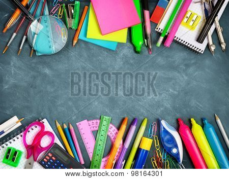 School supplies double border on blackboard