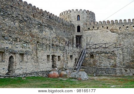 Tbilisi,GE-March,1 2015:Watchtower fortress wall fencing Svetitskhoveli Cathedral. Mtskheta, Georgia