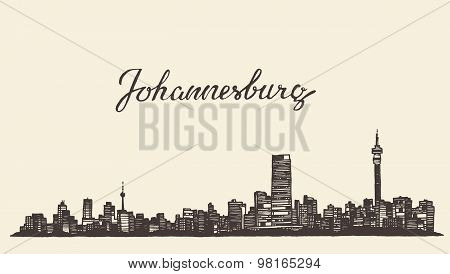Johannesburg skyline vector engraved drawn sketch