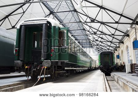 Passenger Trains In A Depot