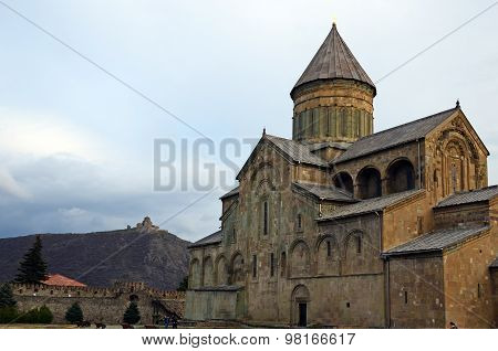 Tbilisi,GE-March,1 2015:Svetitskhoveli Cathedral in the town of Mtskheta-ancient capital of Georgia