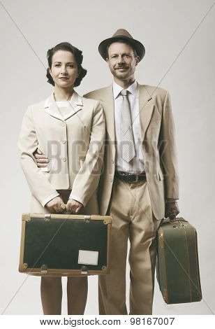 Vintage Loving Couple Leaving For Honeymoon