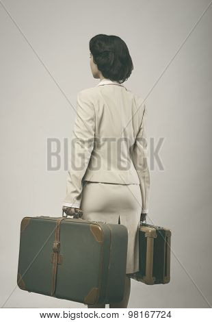 Attractive Vintage Woman With Suitcases Rear View