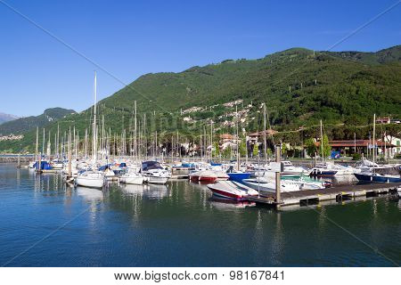 Como Lake Landscape. Water And Mountains. Gera Lario, Lombardy, Italy, Europe.
